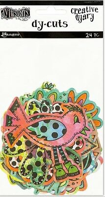 New Dylusions Creative Dy-Cuts - COLOURED BIRDS & FLOWERS - 24 Pieces