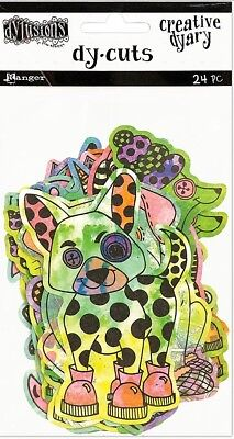 New Dylusions Creative Dy-Cuts - COLOURED ANIMALS - 24 Pieces