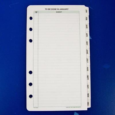 Daytimer Portable Month Tabs Refill Pages 6 Ring Planner Jan - Dec Monthly To Do