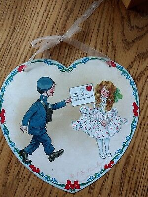 Antique Heart Valentine flat R F Outcault Raphael Tuck Postman delivers to Girl