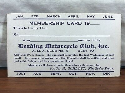 Vintage 1920's 30's RMC Reading Motocycle Club Unused Membership Card Oley, PA.