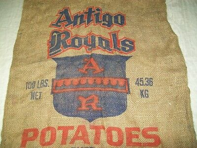 Vintage Burlap Potato Sack Bag Antigo Royals Wisconsin