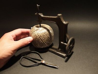 Antique Primitive Style Cast Iron Twine Spool Holder & Scissors