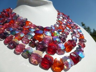 SPECTACULAR VINTAGE Flat Back Pink Red Purple Crystal 5 Strand Necklace Great on
