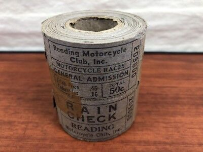 Vintage NOS Roll Of 1930's Reading Motorcycle Club Racing Admission Tickets