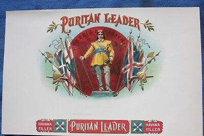 Circa 1900 Embossed PURITAN LEADER Oliver Cromwell Cigar Box Label