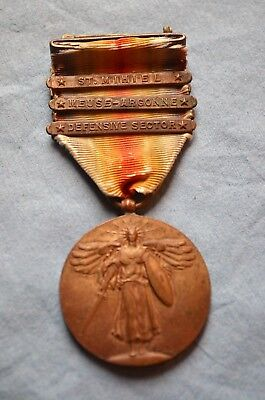 WWI U.S.Victory Medal with 3 Combat Participation Bars