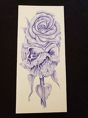 Original pen and ink drawings from prison by artist. Skull and rose card