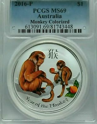 PCGS 2016-P Australia YEAR OF THE MONKEY Colorized Silver Lunar $1 Coin MS69*1oz