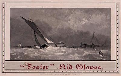 Engraving Ships Boats Foster Kid Gloves Victorian Trade Card Price List Trimmed
