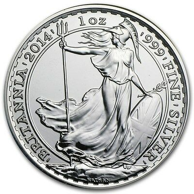 2014 ~ United  Kingdom ~ 1~Ounce ~ Fine  Silver ~ Britannia ~ Gem Coin ! ~$32.88