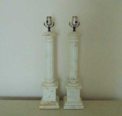 Pair of TALL Italian Table Lamps Vintage Alabaster Corinthian Column Neo-Classic