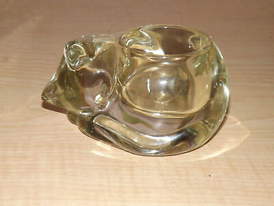 Sleeping crystal clear heavy thick cat Avon votive tea pillar candle holder
