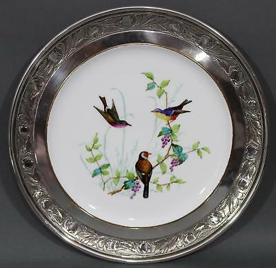 19thC Antique Spode Copeland Porcelain Plate Hand Painted Birds Sterling Rim