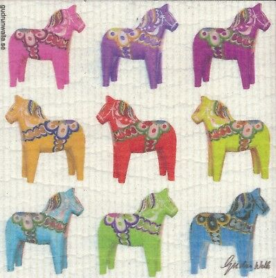 Dish Cloth DalaHorses, Multi-Colored – Gurdun Walla Design