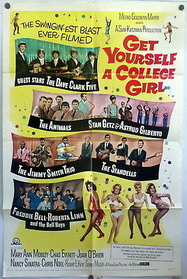 Dave Clark Five 1964 Original Movie Poster Get Yourself a College Girl 60s Rock