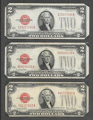 1928 G - ( 3 ) $2 Red Seal Notes