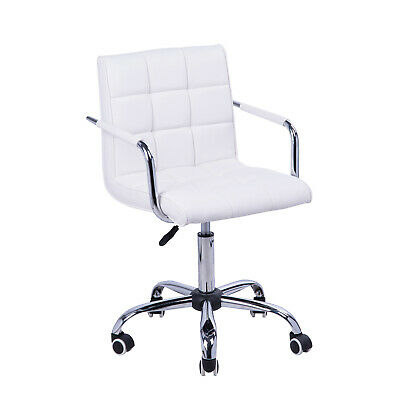 Office Chair PU Leather Swivel Adjustable Computer Desk Armchair High Back White