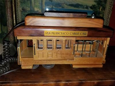 Vintage 1970's Wood San Francisco Cable Car Trolley Novelty Touch Tone Telephone