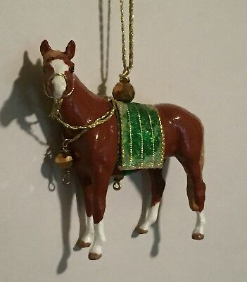 OOAK Breyer Thoroughbred Horse Christmas Holiday Ornament Chestnut With Saddle