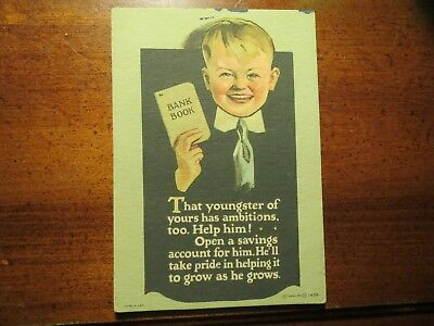 Vintage INK BLOTTER Open That Savings Account for Your Youngster  Bank Banking