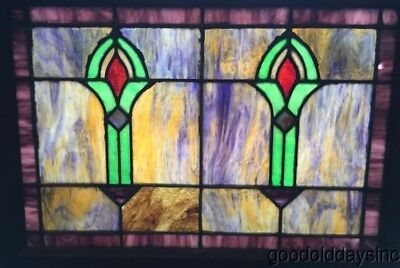 "Antique 1920's Colorful Stained Leaded Glass Window 28"" by 21"""