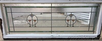 "Large Antique Stained Leaded Glass Transom Window 58"" by 23"" Circa 1910"