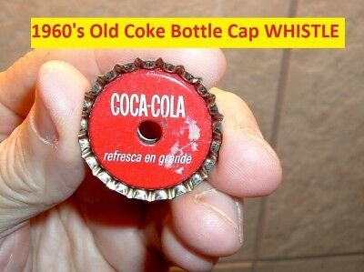 "Vintage Toy Coca Cola Soda Pop Bottle Cap ""WHISTLE"" old Coke Advertising Toy"