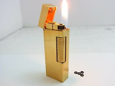 DUNHILL Rollagas Lighter Gold Gas leaks W/4p O-rings Auth Swiss (f