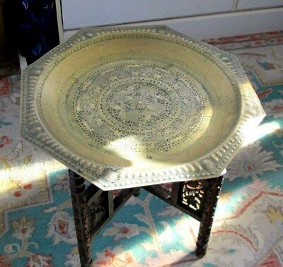 Vintage Middle Eastern Octagonal Embossed Brass Topped Table With Wood Fold Base