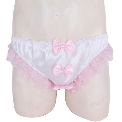 Sexy/Sissy Mens Briefs Underwear Lace Bow Stretchy Shorts Thong Pouch Underpants