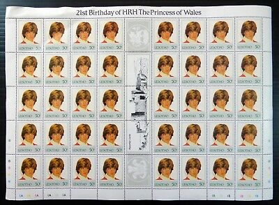 LESOTHO 1982 Diana 21st Birthday 50s Complete Gutter Sheet of 50 Unfolded NJ859