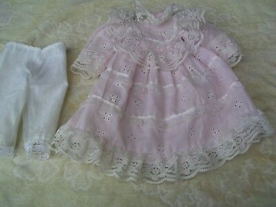 Alte Puppenkleidung Pink Lacy Dress Outfit vintage Doll clothes 40 cm Girl