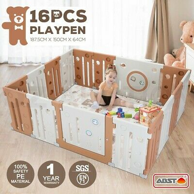 ABST 16 Sided Panel Baby Playpen Interactive Kids Toddler Safety Gates with Lock