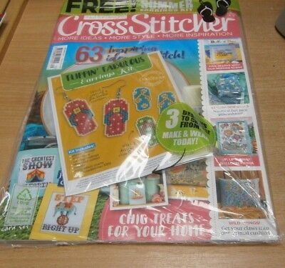 Cross Stitcher magazine #335 SEP 2018 Circus Cards, HotAirBalloons+ Earrings Kit