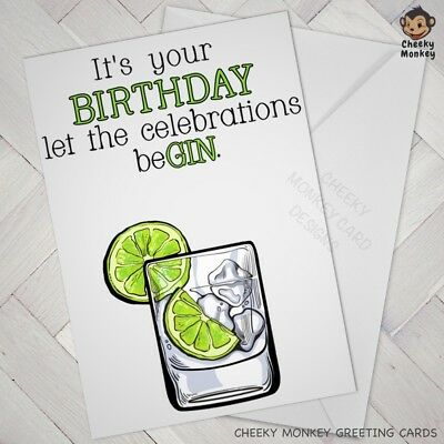 FUNNY Birthday Card GIN Friend Male Female Man Woman Rude Offensive Naughty