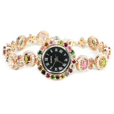Natural Multi Color Tourmaline & White Cz Sterling 925 Silver Watch Lenght 7.5