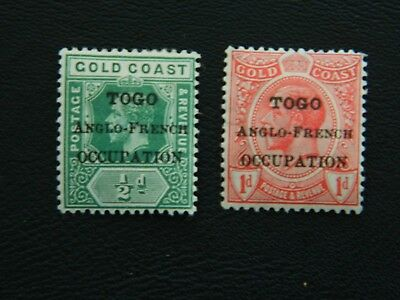 Togo Stamps SG H47/H48 MM opt type 8, Occupation 15mm long issued 1916-20.