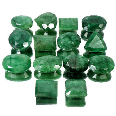 Certified 1330 Ct/14 Pcs Natural Finest Green Emerald Mix Faceted Gemstones Lot