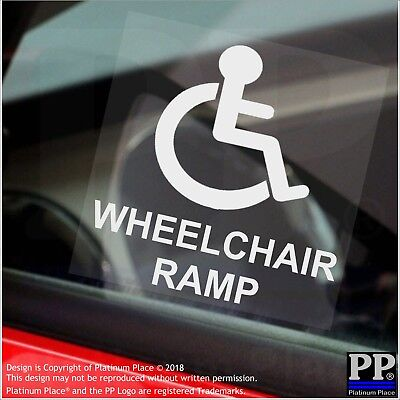 Wheelchair Ramp-Window Sticker-Sign,Car,Warning,Notice,Logo,Disabled,Disability