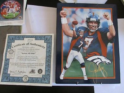 john elway portrait of a champion collection (against all odds) plate COA