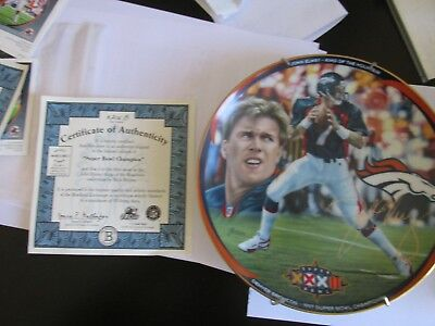 john elway king of the mountain collection (super bowl champion) plate COA