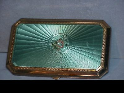 VINTAGE Blue/green LADIES COMPACT WITH GUILLOCHE ENAMEL ROSE