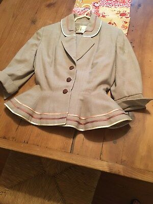 Lilli Ann Vintage Women's Suit Tan with Gold and Cream Piping