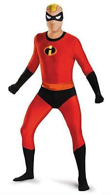 Disguise Men's Mr. Incredible Bodysuit Skinovation Costume, Red, X-Large