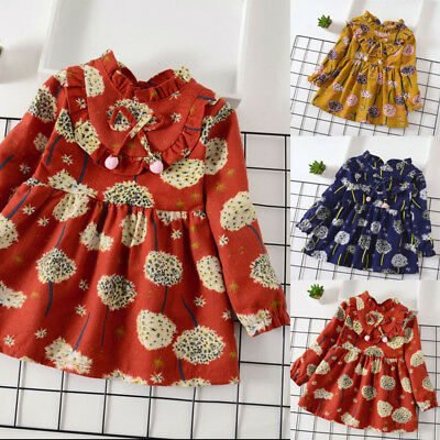 Toddler Infant Baby Girls Long Sleeve Floral Flower Print Dress Outfits Clothes