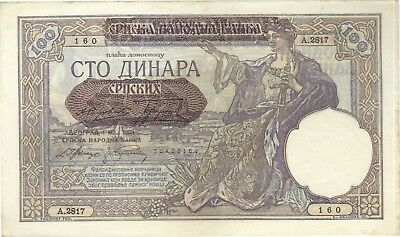 1941 100 Dinara Yugoslavia Nazi Occ Currency Banknote Note Money Bill Cash Wwii