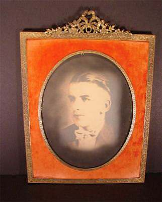 Antique Large Victorian Ornate Gold Metal Velvet Oval Picture Photo Frame