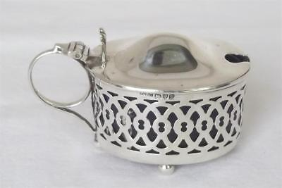 An Antique Solid Sterling Silver Pierced Mustard Pot With Liner Chester 1902.
