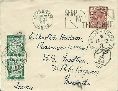 GB 1931 1.1/2d Cover from Lewisham to Passenger on SS Mooltan at Marseilles